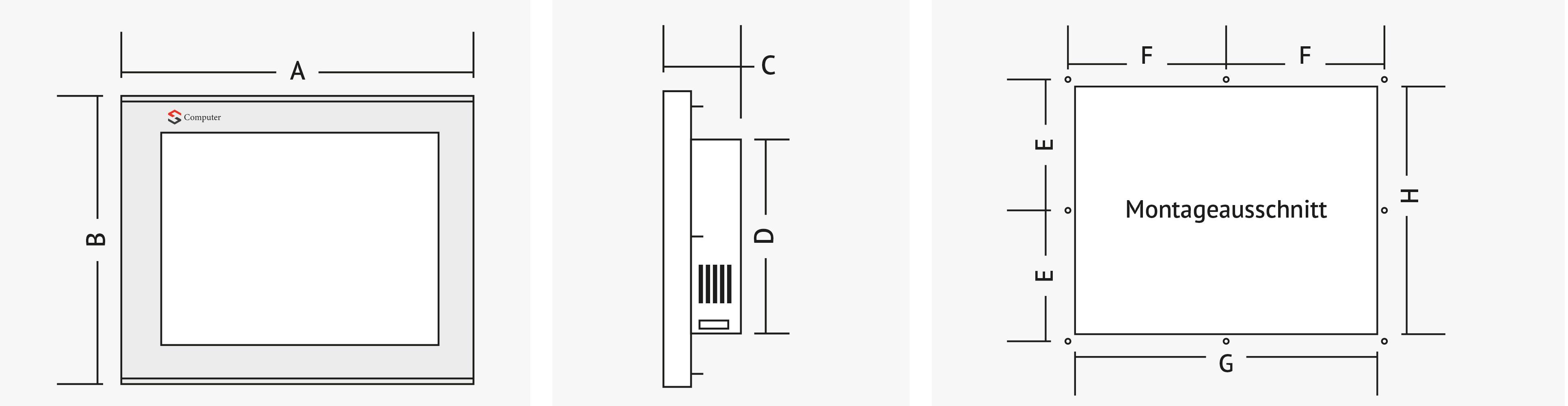Geräteabmessungen von GF-1536-SL-T