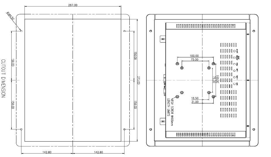 """HF-1566-T - Maßzeichnung 15"""" Industrie-TFT mit Befestigungslöchern"""
