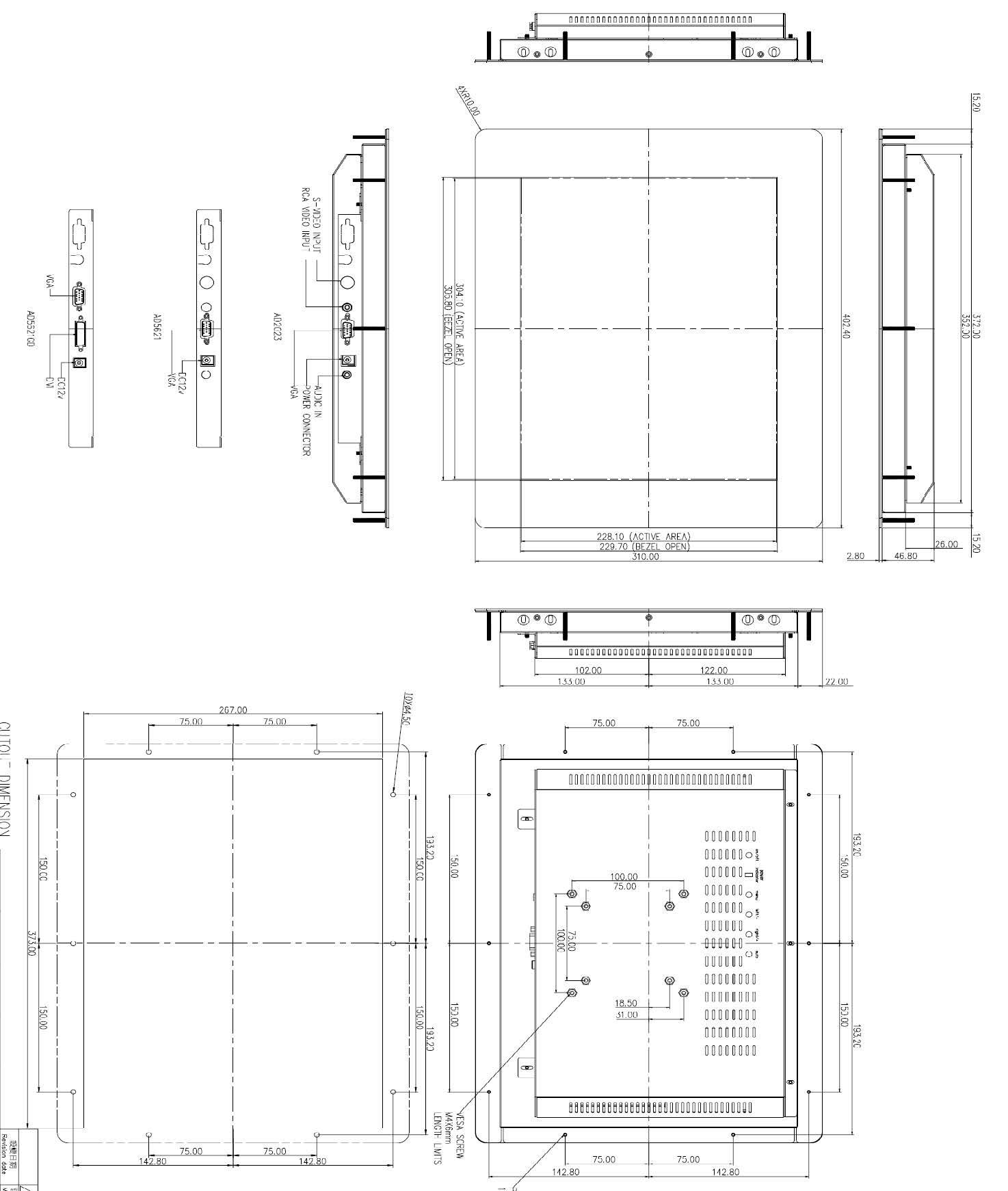 """HF-1566-T - Maßzeichnung 15"""" Industrie-TFT mit rückwärtigen Befestigungsbolzen"""